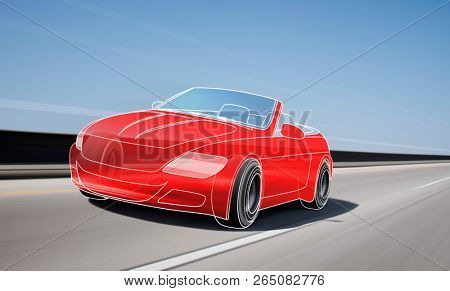 Red outline car and wheels rushes on road with high speed