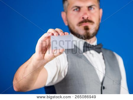 Easy Money Credit. Man Bearded Hipster Hold Blank Card Blue Background. Take This Card. Make Shoppin