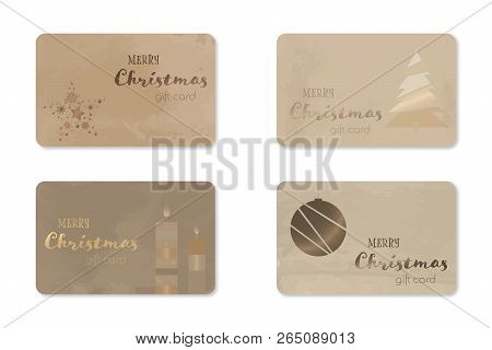 Merry Christmas. Christmas Gift Cards With Different Motives And Text.
