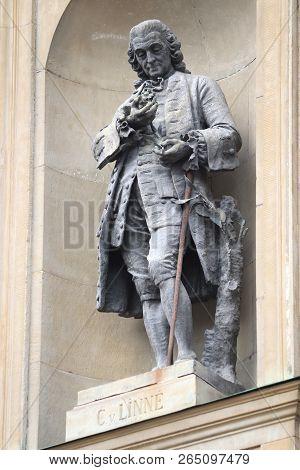 Stockholm, Sweden - August 23, 2018: Carl Linnaeus Statue In Royal Palace Facade In Stockholm, Swede