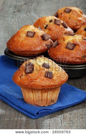 fresh baked banana chocolate muffins