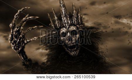 Dark Queen With Crown Pulls Bony Hand. Fantasy Illustration. Monochrome Background