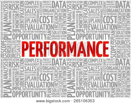 Performance word cloud collage, business concept background poster