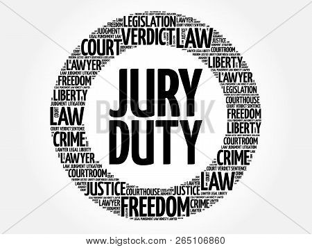 Jury Duty word cloud collage, law concept background poster