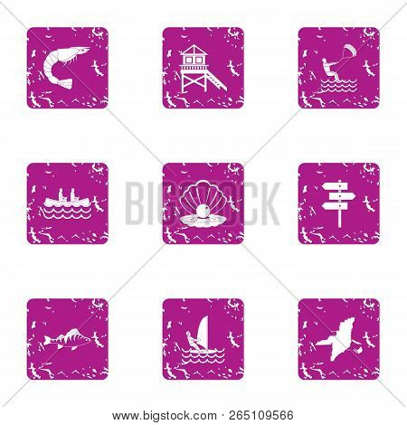 Onshore Fish Icons Set. Grunge Set Of 9 Onshore Fish Icons For Web Isolated On White Background