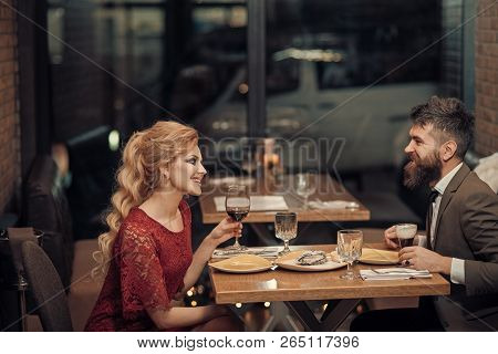 Proposal And Anniversary. Date Of Family Couple In Romantic Relations, Love. Business Meeting Of Man
