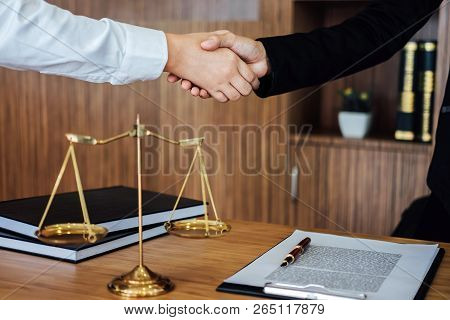 Shaking Hands After Good Cooperation, Business Woman Handshake Female Lawyer After Discussing Good D