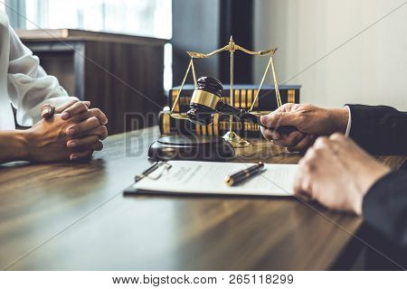 Good Service Cooperation, Consultation Of Businesswoman And Male Lawyer Or Judge Counselor Having Te