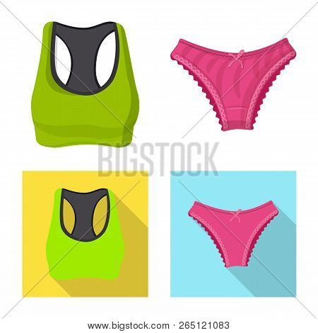 Vector Illustration Of Woman And Clothing Symbol. Set Of Woman And Wear Stock Symbol For Web.