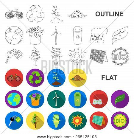 Bio And Ecology Flat Icons In Set Collection For Design. An Ecologically Pure Product Vector Symbol