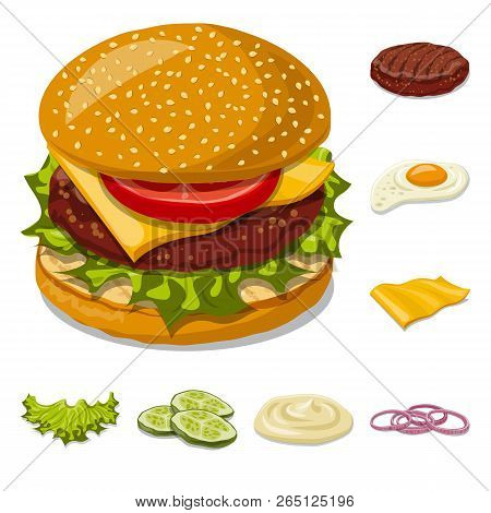 Vector Illustration Of Burger And Sandwich Symbol. Collection Of Burger And Slice Stock Vector Illus