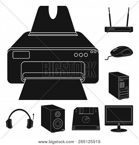 Vector Illustration Of Laptop And Device Symbol. Set Of Laptop And Server Stock Vector Illustration.