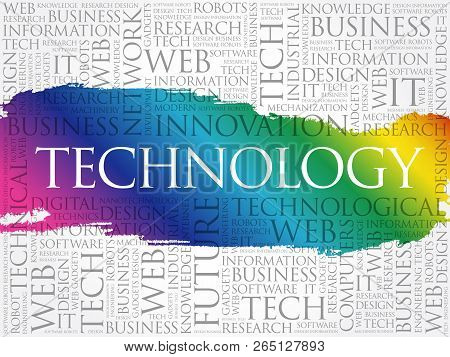 Technology Word Cloud Collage, Business Concept Background