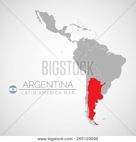 Map Of Latin America With The Identication Of Argentina. Map Of Argentina. Political Map Of America