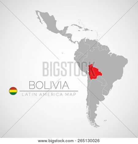 Map Of Latin America With The Identication Of Bolivia. Map Of Boliva. Political Map Of America In Gr