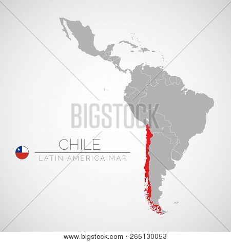 Map Of Latin America With The Identication Of Chile. Map Of Chile. Political Map Of America In Gray
