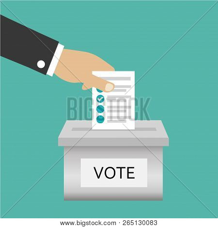 Voting Election With Man Silhouette Putting Vote Paper In The Ballot Box. Candidate Elections. Presi