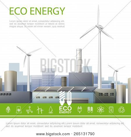 Realistic Eco Energy Colorful Concept With Ecology Factory Windmills And Ecological Electricity Icon