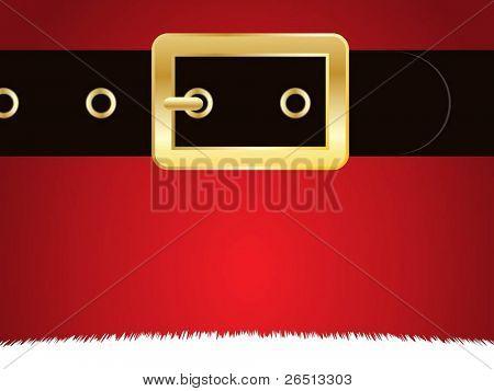 Nahaufnahme der Mantel und Gürtel von Santa Claus