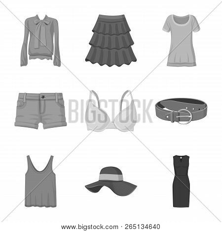 Vector Illustration Of Woman And Clothing Sign. Collection Of Woman And Wear Vector Icon For Stock.