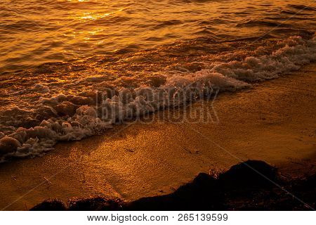 Sun Is Reflected In The Waves Of The Sea, The Texture Of The Waves