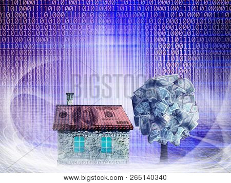 Conceptual money house and money tree with dollar bills in abstract structural lights with binary code
