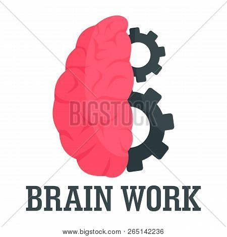 Hard Brain Work Logo. Flat Illustration Of Hard Brain Work Logo For Web Design