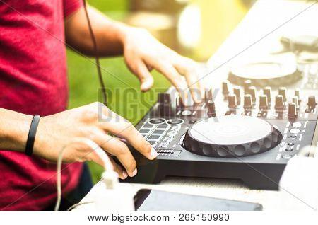 Dj Mixing, Deejay Playing Music Mixer Audio Outdoor