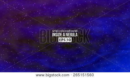 Colorful Vivid Background. Nebula With Stars. Outer Space. Vector Eps 10