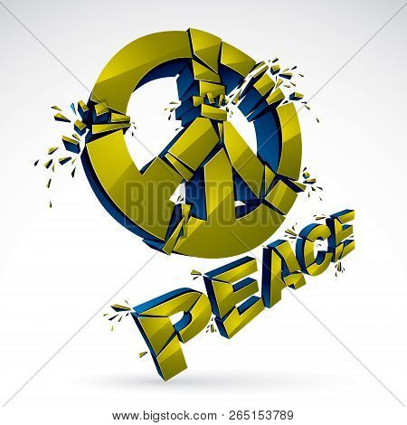 Peace Symbol Breaking To Pieces Vector 3d Realistic Illustration, Broken Peace, Antiwar Meeting And