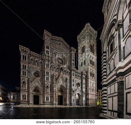 Night view of Duomo di Firenze Cathedral at night with the Baptistery of St.John in view, Florence, Italy, Europe poster