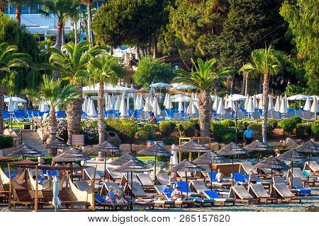 Limassol, Cyprus - June 24, 2018: Beach At Limassol Coastline