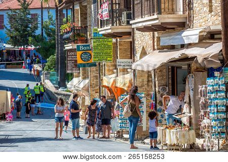 Pano Lefkara, Cyprus - June 17, 2018: Scenic Street View With Many Tourists In Lefkara Village.