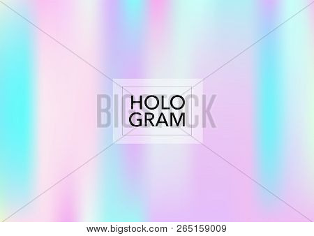 Girlie Hologram Gradient Vector Background. Soft Trendy Tender Pearlescent Rainbow Overlay. Rainbow