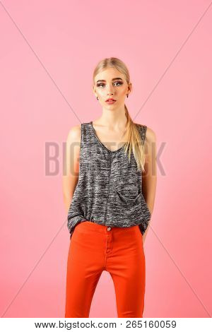 Woman Maintaining Fashion Blog. Hipster Woman With Fashion Makeup. Funky Style Beauty. Hip Hop Girl