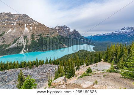 Peyto Lake Glacial Lake In Banff National Park, Alberta, Canada