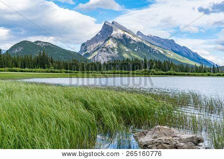 Mountains Along Vermillion Lakes In Banff, Alberta, Canada