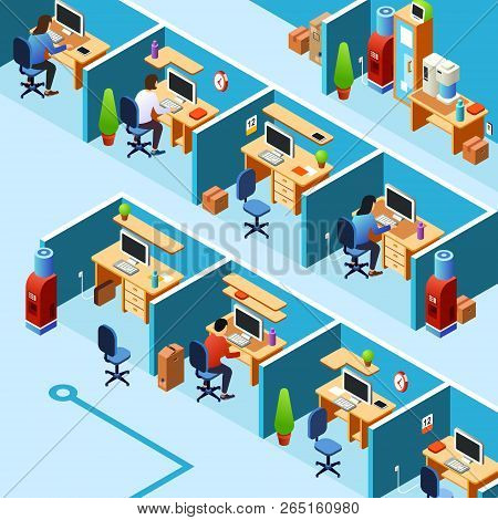 Isometric Cubicle Office Plan, Coworking With Working Clerks, Employees On Their Workplaces. Busines