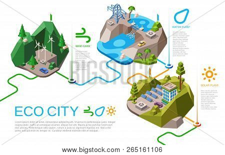 Eco City Illustration Isometric Natural Energy Sources For Urban Life. Cartoon City Landscape With R