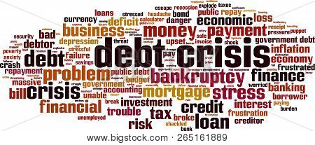 Debt Crisis Word Cloud Concept. Vector Illustration On White