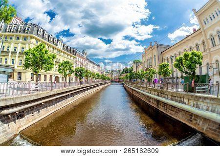 Houses Along Vridelni Riverside Street. Karlovy Vary Spa Town. Czech Republic.