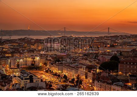 Lisbon Portugal. 24 October 2018. View Of Dowton Lisbon, From Senhora Do Monte Viewpoint In Lisbon