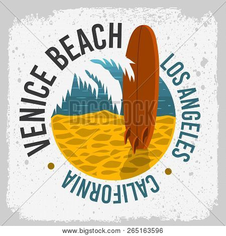 Venice Beach California Surfing Surf Design With A Surf Board On The Beach And Palm Leaf  Logo Sign