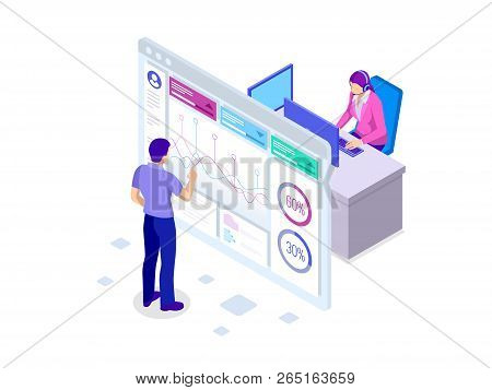 Isometric Analysis Data And Investment. Stack Of Documents With An Official Stamp And Pencils In A G