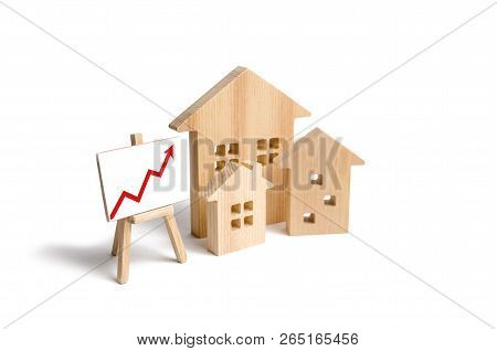 Wooden Houses Stand With Red Arrow Up. Growing Demand For Housing And Real Estate. The Growth Of The