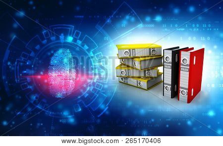 3d Illustration Of Archive Folders Stack, Business Files And Folders In Digital Background