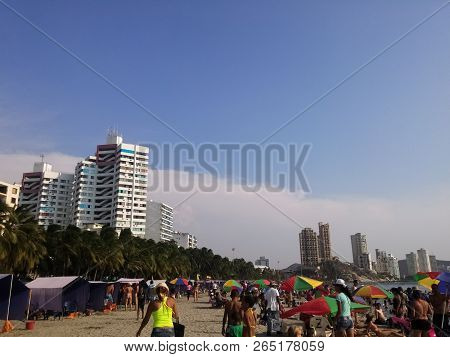 Santa Marta, Magdalena, Colombia - 04/04/2015: Popular Beach Of El Rodadero, In Santa Marta, Colombi