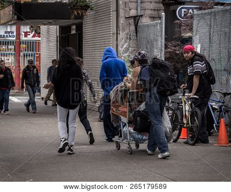 Vancouver, Bc, Canada - May 11, 2016: A All Too Common Scene Of Homelessness And Poverty That Is Van