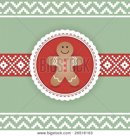 Beautiful Retro Christmas Card with Gingerbread Man