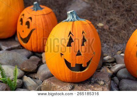 Halloween Pumpkin Sitting On Rocks Being Spooky